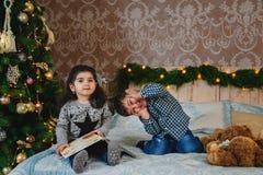 Portrait de Noël de petits enfants s'asseyant sur le lit avec des présents sous l'arbre de Noël et ayant l'amusement Noël de vaca Photo stock