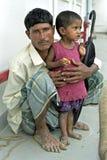 Portrait de père bangladais et d'enfant, Bangladesh Photos stock