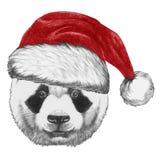 Portrait de panda avec Santa Hat Photos stock