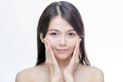 Portrait de peau chinoise d'espace libre de femme Photographie stock libre de droits