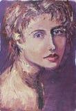Portrait de personnes d'impressionisme de peinture sur le fond foncé abstrait Photographie stock