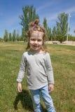 Portrait de petit enfant avec le tresse en parc Image stock