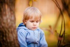 Portrait de petit garçon en parc d'automne Images libres de droits