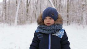 Portrait de petit garçon sur le fond du parc neigeux clips vidéos