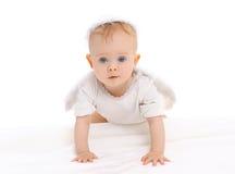 Portrait de petits rampements curieux de bébé image libre de droits