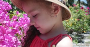 Portrait de peu de fille dans un chapeau de paille qui considère de beaux bourgeon floraux Concept : bébé, enfant, enfants banque de vidéos