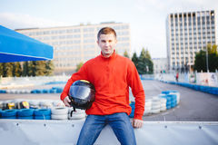 Portrait de pilote de course Photographie stock libre de droits