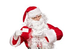 Portrait de plan rapproché de carte de visite professionnelle de visite de participation de Santa Claus d'isolement sur W photo stock