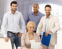 Portrait de plan rapproché d'équipe heureuse d'affaires Photographie stock
