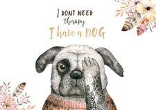 Portrait de plan rapproché d'aquarelle de chien mignon D'isolement sur le fond blanc Animal familier à la maison doux tiré par la illustration stock
