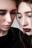 Portrait de plan rapproché de deux mannequins avec des tresses Photo stock