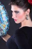 Portrait de plan rapproché de fan de danseur de flamenco Photo stock