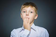 Portrait de plan rapproché de garçon beau avec l'expression étonnée sur le fond gris image libre de droits