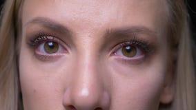 Portrait de plan rapproché de jeune joli visage femelle blond avec des yeux regardant la caméra avec l'expression du visage de so clips vidéos