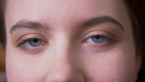 Portrait de plan rapproch? de jeune visage femelle caucasien attrayant avec des yeux regardant la cam?ra clips vidéos