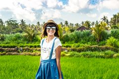Portrait de plan rapproché de touriste heureuse de femme avec le chapeau de paille sur un fond de montagne Volcano Agung, île de  images stock
