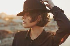 Portrait de profil de chapeau de Coll photo stock