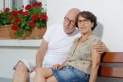 Portrait de quelques aînés dans le jardin Photo stock