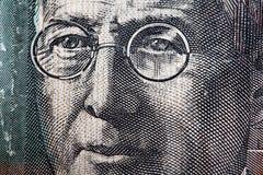 Portrait de révérend John Flynn - Australien 20 clos de billet d'un dollar Images libres de droits