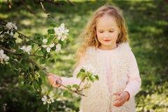 Portrait de ressort de belles 5 années bouclées rêveuses de fille d'enfant Images libres de droits