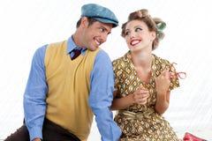 Portrait de rétros couples heureux Images libres de droits