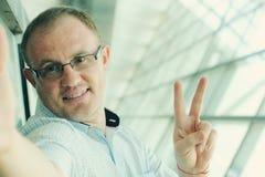 Portrait de Selfie d'un homme bel de 35 années Images libres de droits