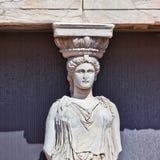 Portrait de statue de cariatide, Acropole d'Athènes, Grèce photos stock