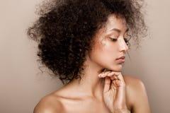 Portrait de studio de mode de belle femme d'afro-américain Photos libres de droits