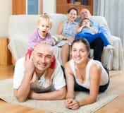 Portrait de sur plusieurs générations heureux Images stock