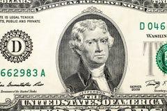 Portrait de Thomas Jefferson sur un billet de deux dollars Photos libres de droits