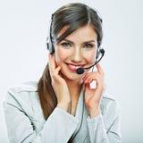Portrait de travailleur de service client de femme, sourire de centre d'appels photographie stock