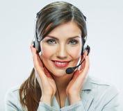 Portrait de travailleur de service client de femme, sourire de centre d'appels photos stock