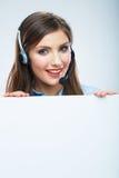Portrait de travailleur de service client de femme, sourire de centre d'appels Image stock