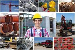 Portrait de travailleur de la construction avec des photos de chantier de construction photo stock