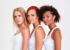 Portrait de trois filles heureuses Image stock