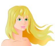 Portrait de vecteur d'une fille blonde Photo stock