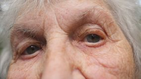 Portrait de vieille grand-mère regardant la caméra Fermez-vous vers le haut des yeux d'une femme agée avec des rides autour de el banque de vidéos