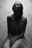 Portrait de vintage de rétro fille fascinante Image libre de droits
