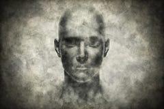 Portrait de visage humain sur le papier grunge Photographie stock