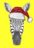 Portrait de zèbre avec Santa Hat Image libre de droits