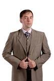 Portrait debout d'homme d'affaires dans le costume de style ancien d'isolement sur le whi Photographie stock libre de droits