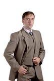 Portrait debout d'homme d'affaires dans le costume de style ancien d'isolement sur le whi Images stock
