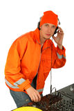 Portrait deejay. Portrait smiling deejay spinning turntables.isolated background Stock Photos