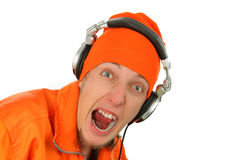 Portrait deejay close-up. Portrait  deejay  close up in headphones .isolated background Royalty Free Stock Photo