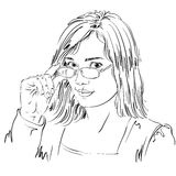 Portrait of delicate good-looking business woman with eyeglasses Stock Photo