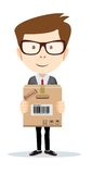 Portrait of delivery man isolated on white. Funny office worker man with boxes on the white background  for use in presentations, etc- Stock Vector illustration Stock Photo