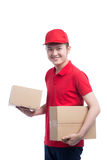 Portrait of delivery man service happily delivering package to c Stock Images