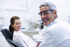 Portrait of dentist and female patient Royalty Free Stock Photo