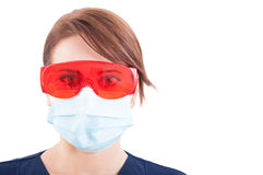 Portrait of dentist woman wearing mask and protective glasses Royalty Free Stock Photos