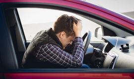 Portrait of depressed man driving car Royalty Free Stock Image